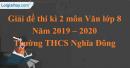 Đề thi kì 2 môn Văn lớp 8 năm 2019 - 2020 Trường THCS Nghĩa Đông
