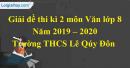 Đề thi kì 2 môn Văn lớp 8 năm 2019 - 2020 Trường THCS Lê Qúy Đôn