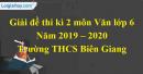 Đề thi kì 2 môn Văn lớp 6 năm 2019 - 2020 Trường THCS Biên Giang