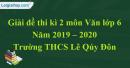 Đề thi kì 2 môn Văn lớp 6 năm 2019 - 2020 Trường THCS Lê Qúy Đôn
