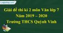 Đề thi kì 2 môn Văn lớp 7 năm 2019 - 2020 Trường THCS Quỳnh Vinh