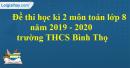 Đề thi học kì 2 môn toán lớp 8 năm 2019 - 2020 trường THCS Bình Thọ