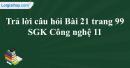 Trả lời câu hỏi Bài 21 trang 99 SGK Công nghệ 11