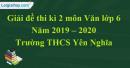 Đề thi kì 2 môn Văn lớp 6 năm 2019 - 2020 Trường THCS Yên Nghĩa