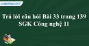 Trả lời câu hỏi Bài 33 trang 139 SGK Công nghệ 11