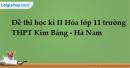 Đề thi học kì II Hóa lớp 11 trường THPT Kim Bảng - Hà Nam