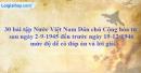 30 bài tập Nước Việt Nam Dân chủ Cộng hòa từ sau ngày 2-9-1945 đến trước ngày 19-12-1946 mức độ dễ