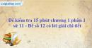 Đề kiểm tra 15 phút chương 1 phần 1 - Đề số 12