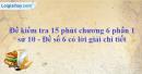 Đề kiểm tra 15 phút chương 6 phần 1 - Đề số 6
