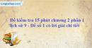 Đề kiểm tra 15 phút chương 2 phần 1 - Đề số 1