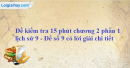 Đề kiểm tra 15 phút chương 2 phần 1 - Đề số 9