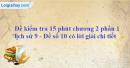 Đề kiểm tra 15 phút chương 2 phần 1 - Đề số 10