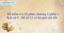 Đề kiểm tra 15 phút chương 2 phần 1 - Đề số 11