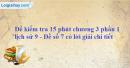 Đề kiểm tra 15 phút chương 3 phần 1 - Đề số 7