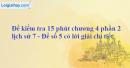 Đề kiểm tra 15 phút chương 4 phần 2 - Đề số 5