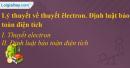 Lý thuyết về thuyết êlectron. Định luật bảo toàn điện tích