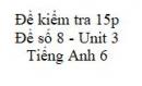 Đề số 8 - Đề kiểm tra 15p - Unit 3 - Tiếng Anh 6 mới