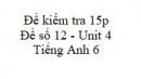 Đề số 12 - Đề kiểm tra 15p - Unit 4 - Tiếng Anh 6 mới