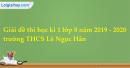 Đề thi học kì 1 hoá lớp 8 năm 2019 - 2020 trường THCS Lê Ngọc Hân