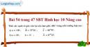 Bài 54 trang 47 SBT Hình học 10 Nâng cao