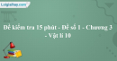 Đề kiểm tra 15 phút - Đề số 1 - Chương 3 - Vật lí 10