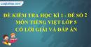 Đề số 2 - Đề thi học kì 1 - Tiếng Việt 5
