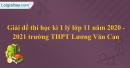 Đề thi học kì 1 lý lớp 11 năm 2020 - 2021 trường THPT Lương Văn Can