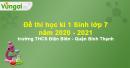 Đề thi học kì 1 Sinh lớp 7 năm 2020 - 2021 trường THCS Điện Biên