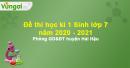 Đề thi học kì 1 Sinh lớp 7 năm 2020 - 2021 Phòng GDĐT huyện Hải Hậu