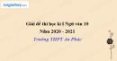 Đề thi học kì 1 môn Ngữ văn lớp 11 năm 2020 - 2021 trường THPT An Phúc