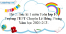 Đề thi học kì 1 toán lớp 10 năm 2020-2021 trường THPT Chuyên Lê Hồng Phong