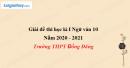 Đề thi học kì 1 môn Ngữ văn lớp 10 năm 2020 - 2021 trường THPT Đồng Đăng