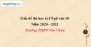 Đề thi học kì 1 môn Ngữ văn lớp 10 năm 2020 - 2021 trường THPT Tân Châu