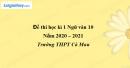 Đề thi học kì 1 môn Ngữ văn lớp 10 năm 2020 - 2021 trường THPT Cà Mau