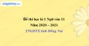 Đề thi học kì 1 môn Ngữ văn lớp 11 năm 2020 - 2021 TTGDTX tỉnh Đồng Nai