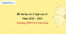 Đề thi học kì 1 môn Ngữ văn lớp 11 năm 2020 - 2021 trường THPT Lý Văn Lâm
