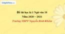 Đề thi học kì 1 môn Ngữ văn lớp 10 năm 2020 - 2021 trường THPT Nguyễn Bỉnh Khiêm
