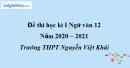 Đề thi học kì 1 môn Ngữ văn lớp 12 năm 2020 - 2021 trường THPT Nguyễn Việt Khái