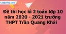 Giải đề thi học kì 2 toán lớp 10 năm 2020 - 2021 trường THPT Trần Quang Khải