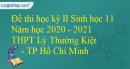 Giải đề thi học kì 2 Sinh lớp 11 năm học 2020-2021 THPT Lý Thường Kiệt - TP Hồ Chí Minh