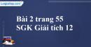 Bài 2 trang 55 SGK Giải tích 12