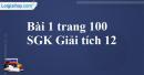 Bài 1 trang 100 SGK Giải tích 12